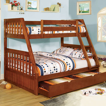 Canberra oak finish wood twin over full bunk bed with mission style headboard and footboards