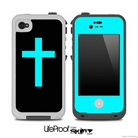 The Blue Simple Vector Cross Skin for the iPhone 4,4s or 5 LifeProof Case