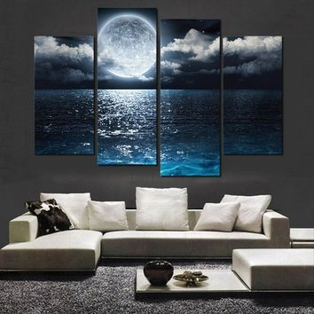 Unframed 4 Panels Home Decor Wall Art Picture The Moon Is Hanging on the Sea Landscape Oil Painting Print on Canvas for Living R