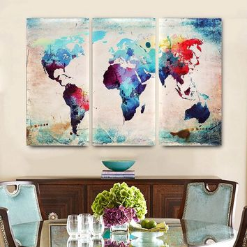 2sizes Colored World Map Abstract Wall Art Canvas Painting Decorative  Stocks