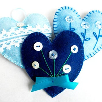 Wool felt heart ornaments blue with flowers and lace set of 3 handmade - Christmas ornament Birthday gift Wedding -  Housewarming home decor