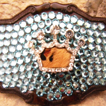 Cowhide Princess Crown Rhinestone Belt Buckle,  Blue Turquoise Swarovski Crystal Western Belt Buckle, Pageant Wear