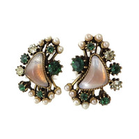 Vintage Florenza Earrings, Green & White Rhinestones, Faux Pearls, Opal Lucite Cabochons, 1960s Designer Clip-ons