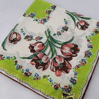 Vintage Handkerchief, Unused with Tag. Lime Green and Peach Hankie for Crafting, Sewing, Framing, Quilting,  Great Gift Idea, Quiting  D-27