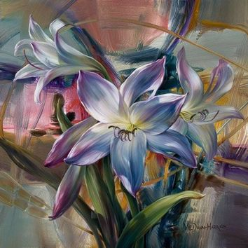 elegant lily diy oil paintings on canvas home decor wall art pictures coloring by numbers cuadros decoracion flowers rg09