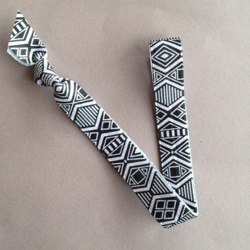 "Black & White Aztec 5/8"" Elastic Headband by Elastic Hair Bandz on Etsy"