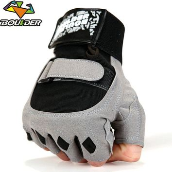 Men Brand Gyms Body Building Yoga Equipment Weight lifting Half finger Fight breathable Luvas Fitness Gloves Black Gray Mittens