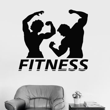 Vinyl Wall Decal Fitness Couple Muscle Gym Bodybuilding Stickers Unique Gift (ig3982)