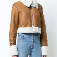 Off-White Embroidered Shearling Jacket - Farfetch