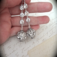 Long crystal statement earrings - Swarovski crystals - Cubic zirconias ~ Sparkle - Sterling Silver wires - Pageant - Prom - Brides earrings