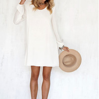 Long Sleeve Scoop Back Dress