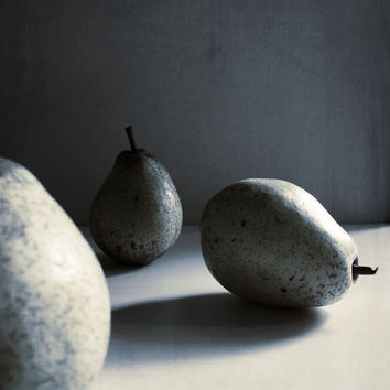 Still Life Photography Fruit Pears Food Grey Blue Tones Home Decor 10x8 Print Pears