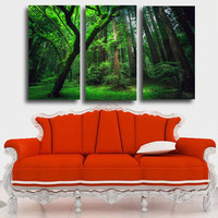 3 Panels Green Forest HD Canvas Print Painting Artwork Modern Home Wall Decor Painting Canvas Art HD Picture On Canvas Prints