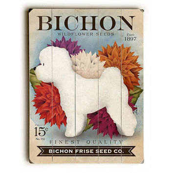 Bichon Seed Packett by Artist Stephen Fowler Wood Sign