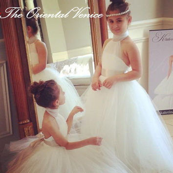 Princess White Tulle Flower Girls Dresses Halter Neck Kids Junior  Bridesmaid Dress with Champagne Ribbons First f7efa6591984