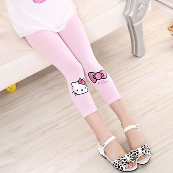 Baby Pants Children's Clothing Girl Hello kitty Bow Seventh Leggings Cotton summer cute Cartoon Leggings