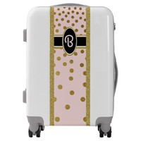 Pretty Pink and Gold Falling Dots Monogrammed Luggage