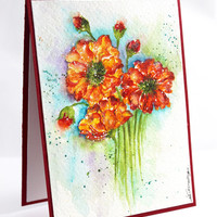 OOAK - Handpainted, Watercolor Card, Bunch of Flowers