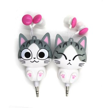 Stereo Wired Headset Cat Headphone Cute Earphone For Your Ear Phone Buds iPhone Samsung Earbuds Earpiece Smartphone Player Girls