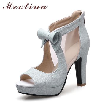 Meotina Women Shoes High Heels Platform Shoes Bow Peep Toe Pumps Sexy High Heel Party Shoes Silver Size 33-43 sapatos femininos