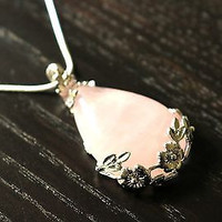 Rose Quartz Necklace - Healing Crystals, Crystal Necklace, Rose Quartz Crystal