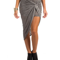 Drape Front Asymmetrical Skirt - Medium - Gray /