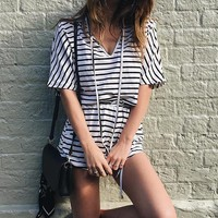 Stripes V-neck Crop Top with Shorts Two Pieces Set