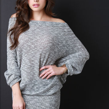 Off Shoulder Slouchy Metallic Knit Dress