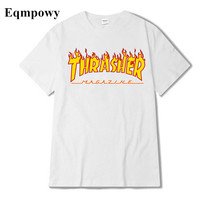 Eqmpowy 2017 skateboard Thrasher T Shirt Men Wome Flame Blaze T-shirts Magazine Hip Hop Trasher Street Wear Thrasher T Shirt