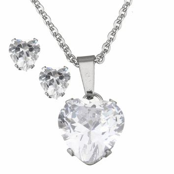Stainless Steel Stud Earring & Necklace Heart Cubic Zirconia CZ Pendant Necklace For Women