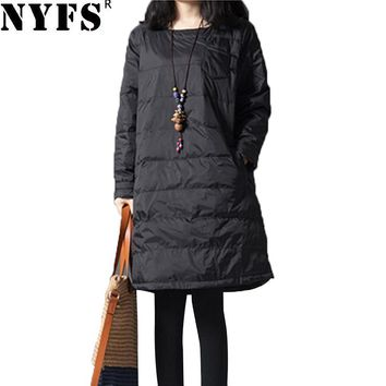NYFS New Style Women Dress Vintage Loose Long Sleeve Quilted dress Vestidos Robe Elbise