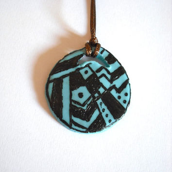 Futuristic modern necklace black and blue modeled in cold porcelain and hand-painted