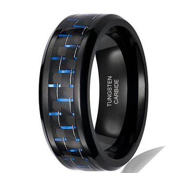 8mm Tungsten Carbide Ring Vintage Wedding Jewelry Black Blue Carbor Fiber Engagement Promise Band