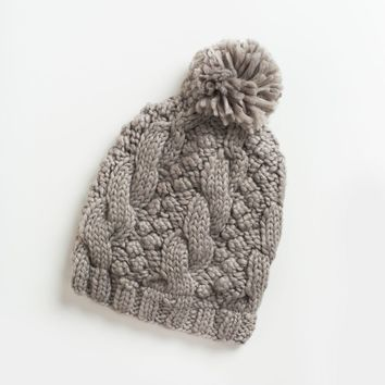 Addison Grey Knit Pompom Beanie