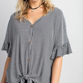 Stripe Print Ruffle Sleeve With Buttons Tie Front Knit Top - Navy/White