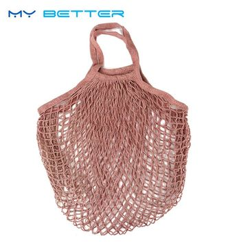 1PC Reusable String Fruit Shopping Bag Supermarket Grocery Bag Shopper Tote Mesh Net Woven Cotton Hand Totes