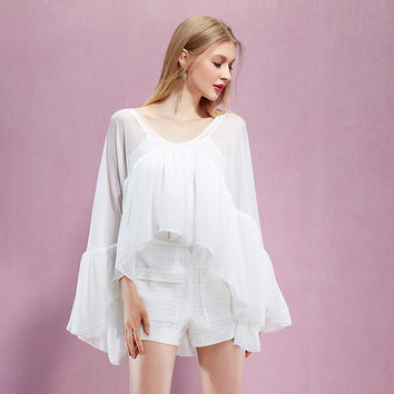 Casual White Mesh Flounce Batwing Romper