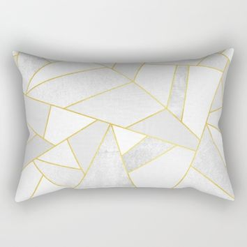 White Stone Rectangular Pillow by Elisabeth Fredriksson