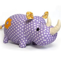 Rhino stuffed animal toy sewing pattern tutorial rhinoceros PDF instant download
