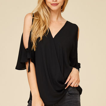 Celebration Black Open Shoulder Top