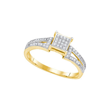 10kt Yellow Gold Womens Elevated Diamond Square Cluster Bridal Wedding Engagement Ring 1/6 Cttw 85366