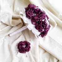 White blackberry purple silver Fabric Bouquet winter Wedding Bridal Bouquet with Pearls HANDMADE flowers brooches cotton lace satin handle