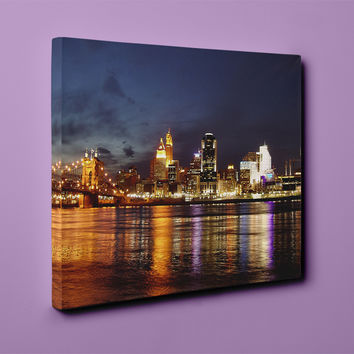 Cincinnati Skyline from Across the Ohio on Mirror Wrapped Canvas