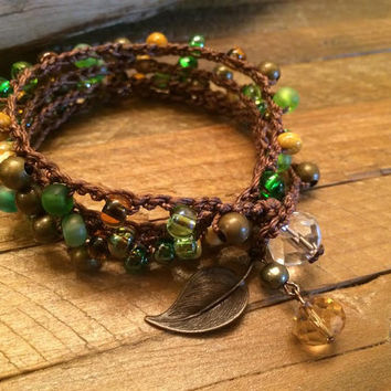 Boho Chic Wrap Bracelet - Crocheted and Beaded With Czech Glass - Woodland Color Palette and Leaf Charm Perfect for Autumn Fall