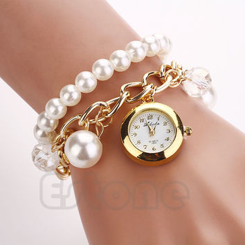 Fashion Women Faux Pearl Rhinestone Chain Bracelet Round Dial Analog Wrist Watch