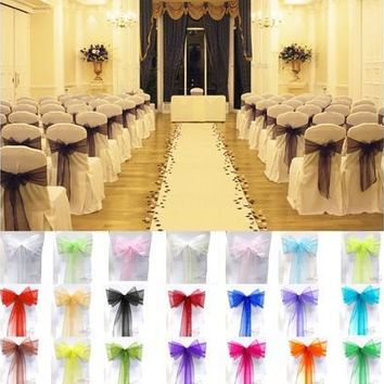 15x275cm Sheer Organza Chair Cover Sash Bow Wedding Party Banquet Decor Sashes Bow Cover  Decoration Gauze [7981680583]