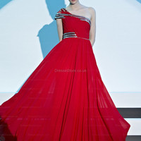 A-line One Shoulder Chiffon Floor-length Red Beading Evening Dress at dressestore.co.uk