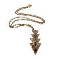 Buytra European Vintage Style Gold Triangle Pendent Long Chain Necklace