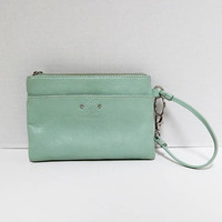 Vintage Stone Mountain Leather Wristlet Purse, Phone Case, Wallet, Mint Green