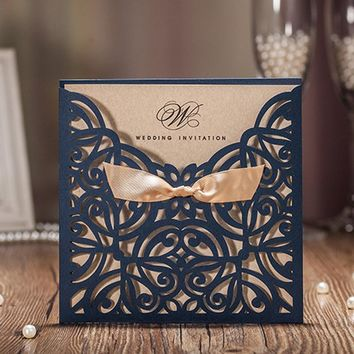 1pcs Sample Blue Laser Cut Luxury Wedding Invitations Card Elegant Gold Bow Designed Favor Wedding Event & Party Supplies